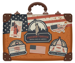 Vector image of travel suitcase with stickers set with American symbols and monuments of the United States of America in retro style