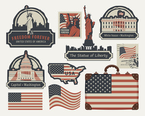 Vector set of american symbols and architectural landmarks of the United States of America