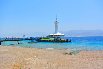 the famous Eilat aquarium, located on the shore of the Gulf of Aqaba of the Red Sea. Israel