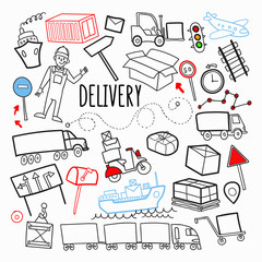 Freight Delivery Shipping Hand Drawn Doodle. Logistic Industry Elements. Transportation, Container, Delivering Service. Vector illustration
