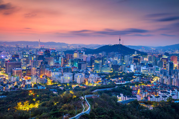Aluminium Prints Seoul Seoul. Cityscape image of Seoul downtown during summer sunrise.