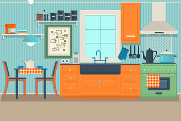 Flat Modern Kitchen Interior Design with City View Outside Illustration.Vector
