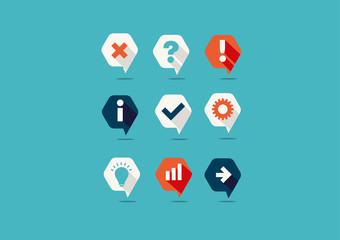 Creative set of icons, question, tick, idea, graph