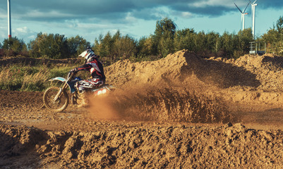 Extreme Motocross MX Rider riding on dirt track Wall mural