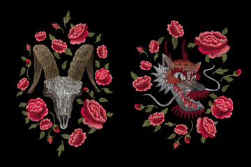 Peonies and skull of a cow with feathers. Traditional folk stylish stylish embroidery on the black background. Sketch for printing on fabric, clothing, bag, accessories and design. Vector, trend
