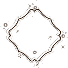 heraldic decorative geometric diamond frame in brown color silhouette with sparks