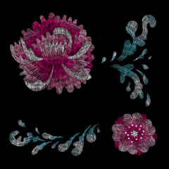 Crane and flowers plant. Traditional folk stylish stylish floral embroidery on the black background. Sketch for printing on fabric, clothing, bag, accessories and design. Vector, trend