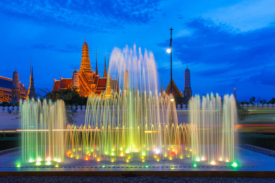 Fountain dance show in front of Wat Phra Kaew at Bangkok City, Temple of the Emerald Buddha in Bangkok, Thailand.