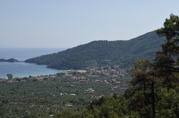 View from mount Ipsarion to the South over the golden beach