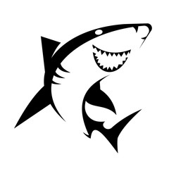 Smiling Shark mascot sport symbol. Vector Illustration isolated on white background.