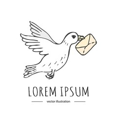 Hand drawn doodle Postal element -pigeon with letter icon isolated on white background. Vector illustration. Post symbols. Cartoon mail element: letter, envelope, package, delivery dove, flying bird.