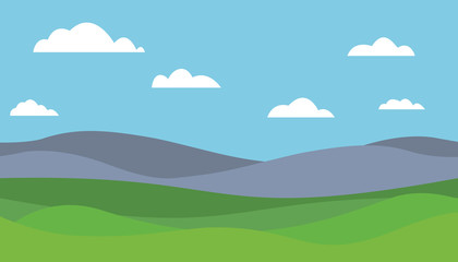 Wall Murals Pool Cartoon colorful vector flat illustration of mountain landscape with meadow under blue sky