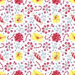 hands drawn watercolor greeting seamless pattern with gifts, candies and floral elements on white background. Can be use in winter holidays design, posters, invitations, cards