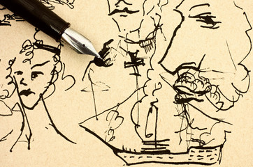 Fountain pen on old paper with ink hand drawing sample.