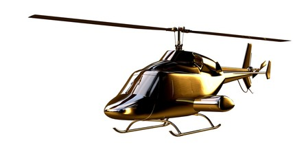 3d rendering of a golden helicopter on isolated on a white background