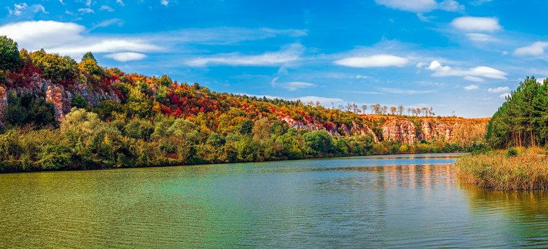Autumn colors on lake. Rusenski Lom Natural Park, Ruse district, Bulgaria.