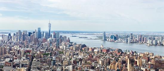 Loiwer Manhattan Skyline Aerial View, NYC, USA