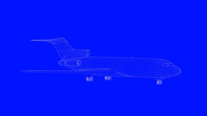3d rendering of a blue print airplane in white lines on a blue background