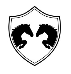 vintage emblem with a picture of two horses