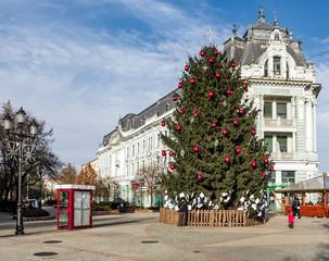 Nyiregyhaza, Hungary - December 7, 2014: Christmas tree on the Nyiregyhaza central square