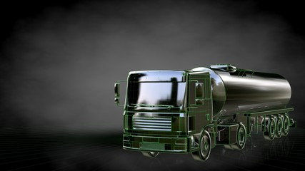3d rendering of a reflective truck with green outlined lines as blueprint on dark background