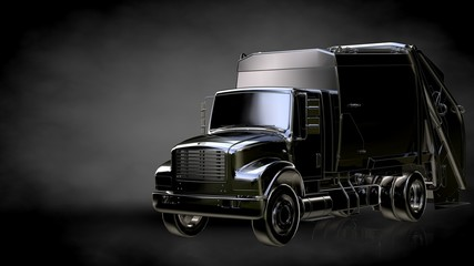 3d rendering of a metalic reflective truck on a dark background