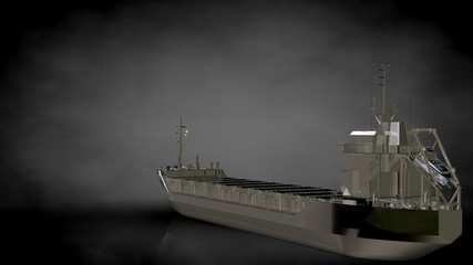 3d rendering of a metalic reflective ship on a dark background