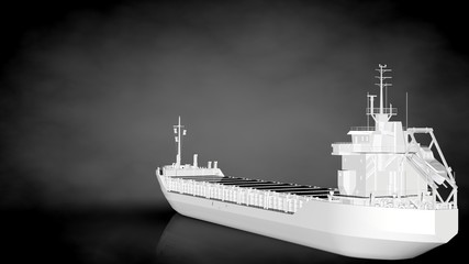 3d rendering of a white reflective ship on a dark background