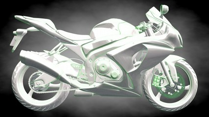 3d rendering of a reflective motor with green outlined lines as blueprint on dark background