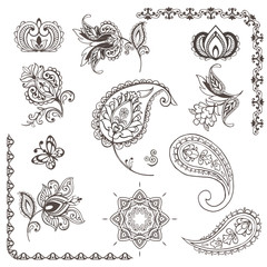 Set for design with flowers, Indian paisley, leaves and abstract elements. Oriental style