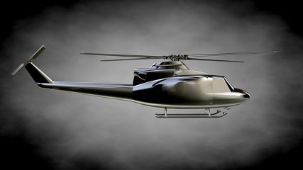 3d rendering of a metalic reflective helicopter on a dark background
