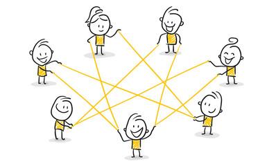 Strichfiguren / Strichmännchen: Netzwerk, Internet, Zusammenarbeit. (Nr. 115)