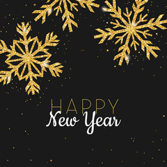 Golden Glitter Snowflake Happy New Year Greeting Card for your Invitation, Banner, Calendar in vector