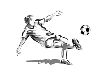 Vector line sketch soccer