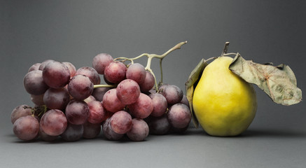 Still life with various ripe fruit, isolated on grey