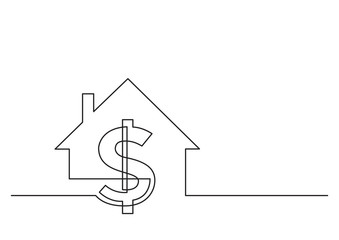 one line drawing of isolated vector object - dollar sign and house