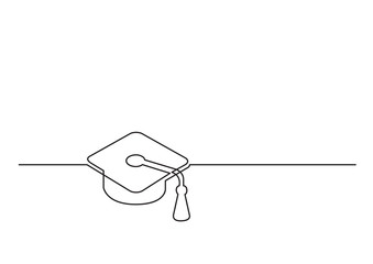 one line drawing of isolated vector object - graduation cap