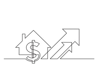 one line drawing of isolated vector object - dollar sign and house with arrows