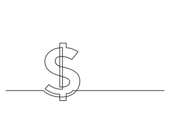 one line drawing of isolated vector object - dollar sign
