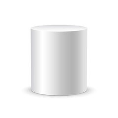 White cylinder on white background isolated. 3d object cylinder container design template