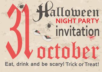 Halloween, postage card, vintage style