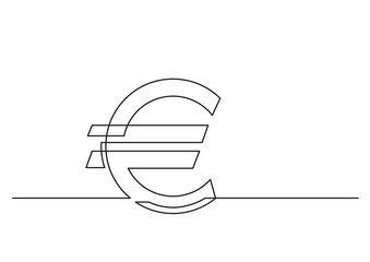 one line drawing of isolated vector object - euro sign
