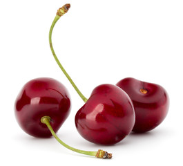 Fototapete - Sweet cherry berries isolated on white background cutout