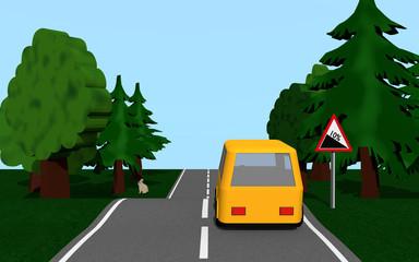Landstraße mit Gefälle, Auto, Bäumen und Hasen