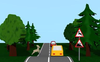 Landstraße mit Gefälle und Wildwechsel