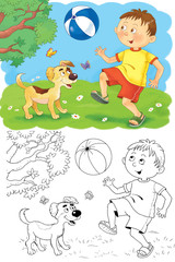 Four seasons.  Summer. A cute boy and his puppy. Coloring page. Illustration for children