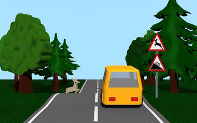 Landstraße mit den Verkehrsschildern Gefällle und Wildwechsel, einem gelben Auto und einem Hirsch