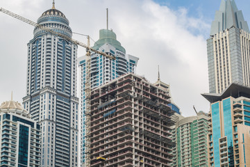 Detail view of house construction site in Dubai