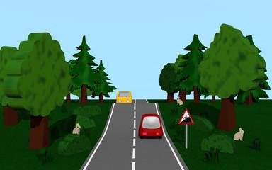 Landstraße mit dem Straßenschild Steigung, Autos,  Bäumen und Häschen