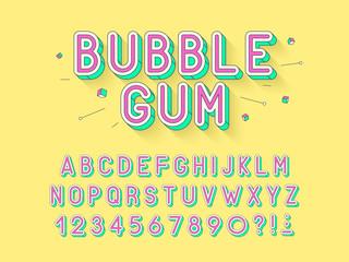 Vector retro Bubble gum bold font design, alphabet, typeface, typography.